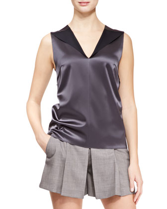 Blazer with Detachable Collar, Satin V-Neck Shell & Pleat-Front Suiting Shorts