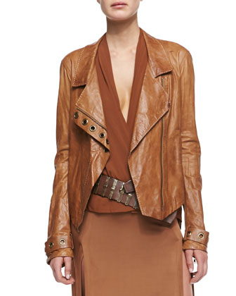 Asymmetric Zip Lambskin Leather Jacket, Sleeveless V-Neck Draped Blouse, ...
