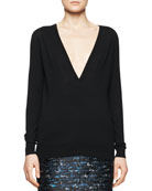 Deep-V Merino Sweater, Black