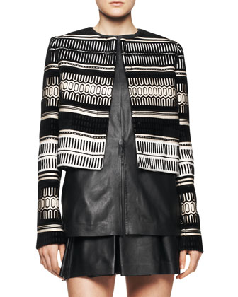 Baja Cropped Velvet Jacquard Jacket, Split-Center Leather Top & Box-Pleat ...