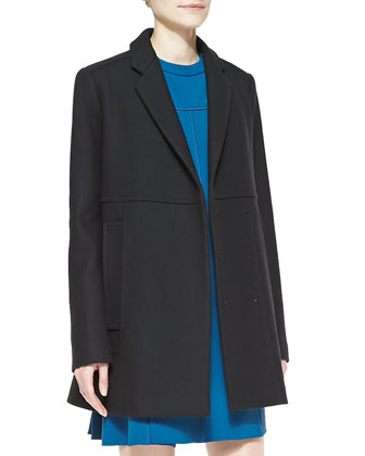 Wool-Cashmere Snap Coat and Sleeveless Stud-Trim Shift Dress