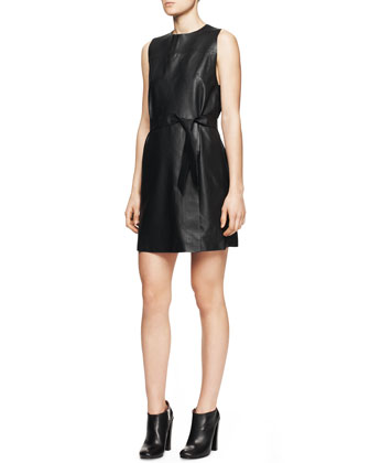 Sleeveless Leather Tie-Belt Dress
