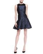 Sleeveless Jacquard Flare Dress