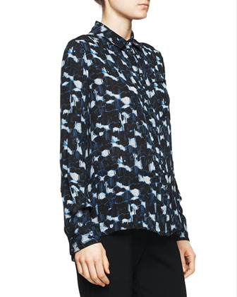Printed Pocket Blouse, Blue/Black Cloud