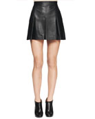 Box-Pleat Leather Skirt