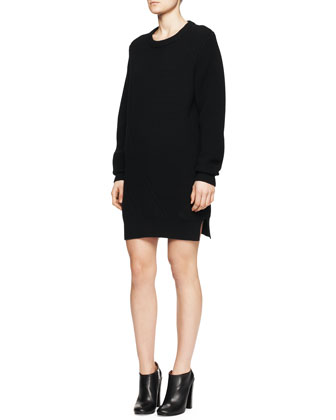Long-Sleeve Mixed-Knit Sweater Dress