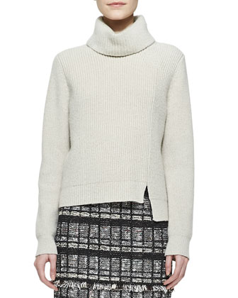 Notched-Hem Turtleneck Sweater and Fringe-Trim Tweed Skirt