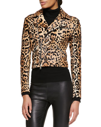 Roxana Leopard-Print Moto Jacket, Cashmere-Silk Turtleneck & Abbey Leather ...