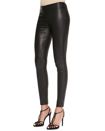 Abbey Stretch Leather Skinny Pants, Black