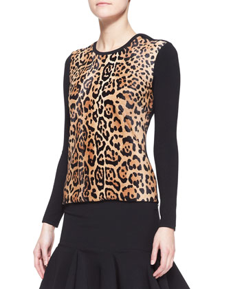 Long-Sleeve Leopard-Print Top & Lindley Flared Skirt