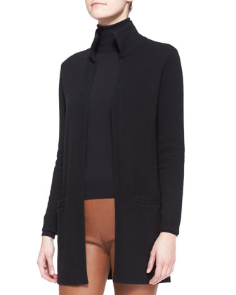 High-Neck Cashmere Cardigan, Cashmere-Silk Turtleneck & Abbey Leather ...