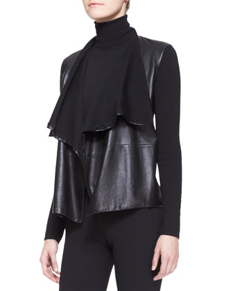 Drape-Neck Leather Combo Cardigan