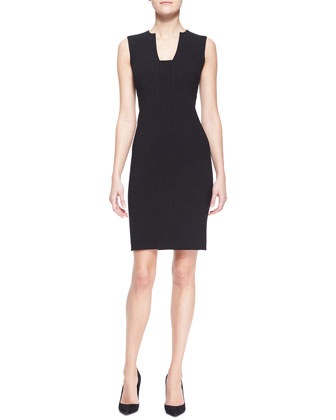 Danielle Stretch Wool Sheath Dress, Black