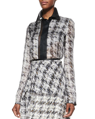 Tweed-Print Georgette Blouse and Asymmetric Skirt