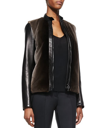 Fur-Front Bomber Jacket, Chiffon-Sleeve Blouse & Coated Straight-Leg Pants