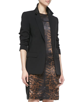 Blazer Jacket with Leather & Printed Side-Panel Dress