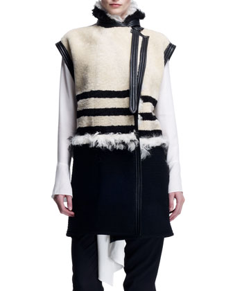Striped Shearling Long Vest, Long-Sleeve Tie-Neck Blouse & Stretch Wool ...