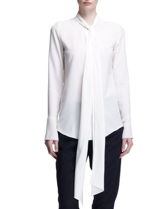 Long-Sleeve Tie-Neck Blouse, Milk White