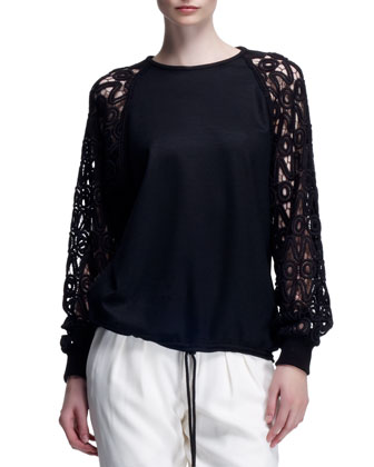 Milano Wool Sweater with Guipure Lace Sleeves, Black