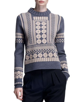 Stencil Jacquard Embroidered Sweater, Anthracite Gray