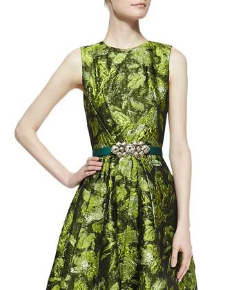 Forest Printed A-Line Dress & Satin Ornament-Buckle Belt