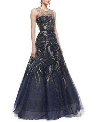 Sleeveless Embellished Ball Gown