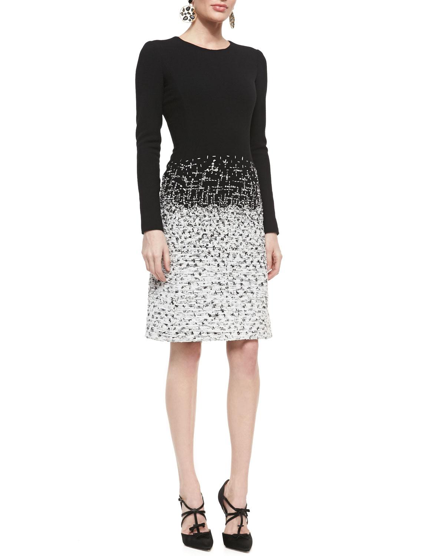 Womens Long Sleeve Tweed Skirt Dress   Oscar de la Renta   White/Black (10)