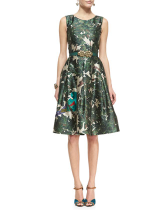 Forest Printed A-Line Dress