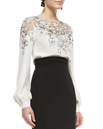 Lace-Embellished Silk Top and Wrapped-Waist Midi Skirt