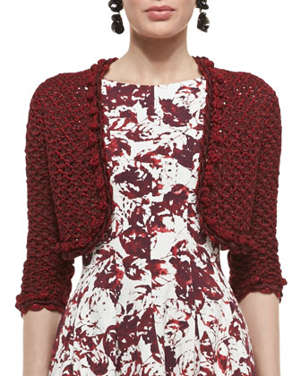 Embroidered Knit Bolero Jacket and Sleeveless Full-Skirt Floral Dress