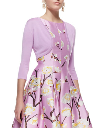 Cashmere-Silk Shrug & Sleeveless Seamed A-Line Floral Dress
