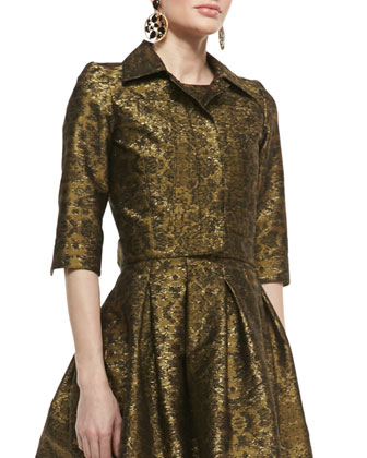 3/4-Sleeve Cropped Brocade Jacket and Pleated A-Line Brocade Dress
