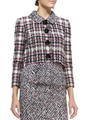 Four-Button Cropped Tweed Jacket