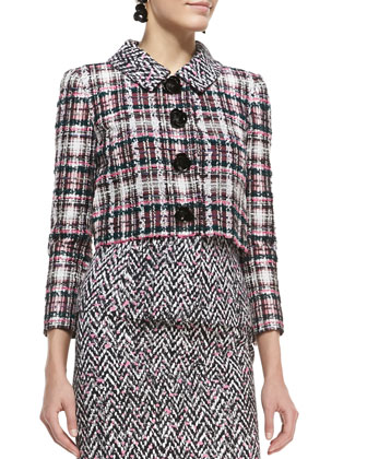 Four-Button Cropped Tweed Jacket and Midi Tweed Pencil Skirt