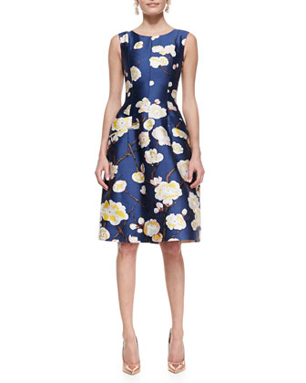 Sleeveless Floral Dress, Navy