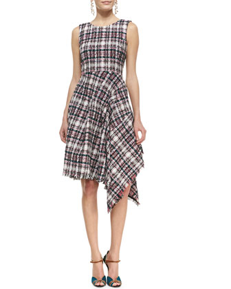 Asymmetric Draped Tweed Dress & Wide-Buckle Suede Belt