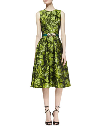 Sleeveless Darted Brocade Dress and Satin Ornament-Buckle Belt