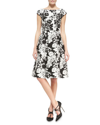 Seamed Cap-Sleeve Floral Dress
