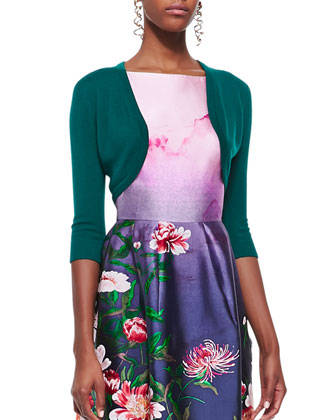 3/4-Sleeve Cropped Bolero and Sleeveless Floral-Bottom Dress