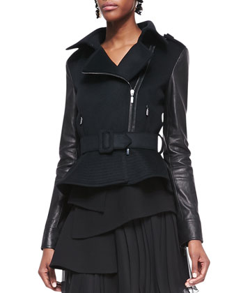 Leather-Sleeve Moto Jacket & Pleated Chiffon Skirt