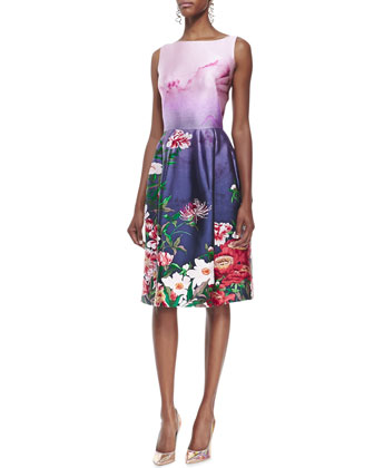 Sleeveless Floral-Bottom Dress