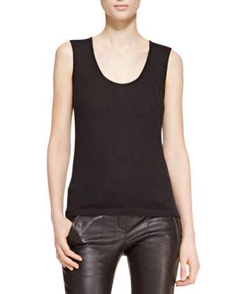 Scoop-Neck Sleeveless Tank Top, Black