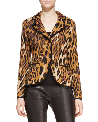 Long-Sleeve Leopard-Print Blazer, Scoop-Neck Sleeveless Tank Top & Skinny ...