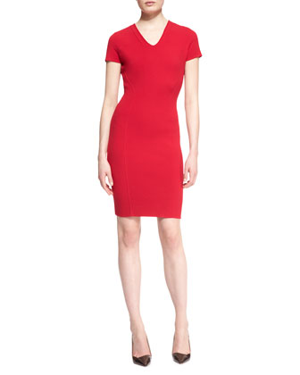 Cap-Sleeve V-Neck Dress, Garnet