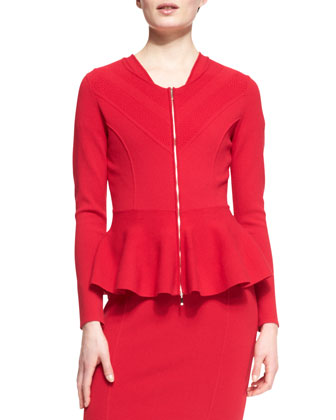 Peplum Zipper Jacket & Cap-Sleeve V-Neck Dress
