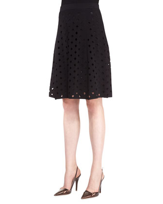 Cutout A-Line Skirt, Black