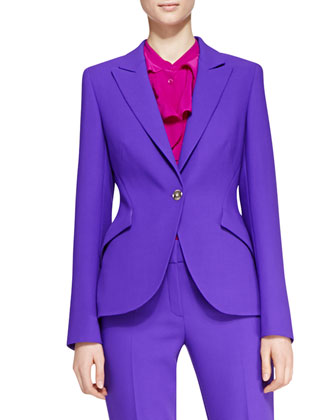 Long-Sleeve Wool Blazer, Long-Sleeve Ruffle-Neck Blouse & Cropped Pants