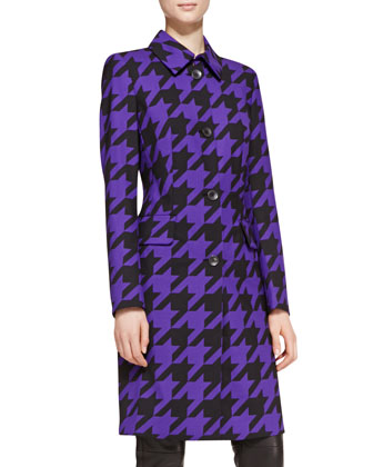 Long-Sleeve Houndstooth Coat, Blue