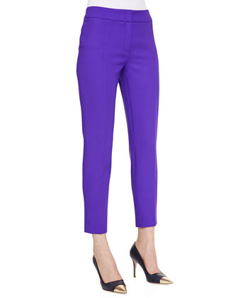 Cropped Wool Pants, Purple
