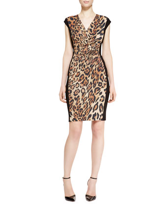 Cap-Sleeve Leopard-Print Dress